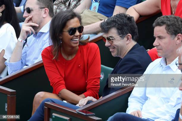 Tv hosts Karine Le Marchand and Stephane Plaza attends the 2018 French Open Day Nine at Roland Garros on June 4 2018 in Paris France