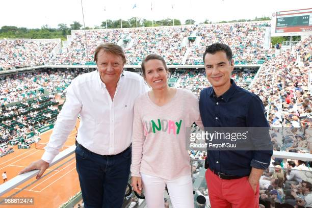 Tv journalist Lionel Chamoulaud for who it is his last coverage of the french open after 31 year working on it Tennis player Justine Henin and Sports...