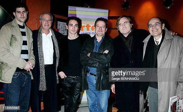 Tv Movie Projection 'Vive La Bombe' At Club De L'Etoile In Paris France On March 08 2007 From left to right Olivier Barthelemy Bernard Le Coq...