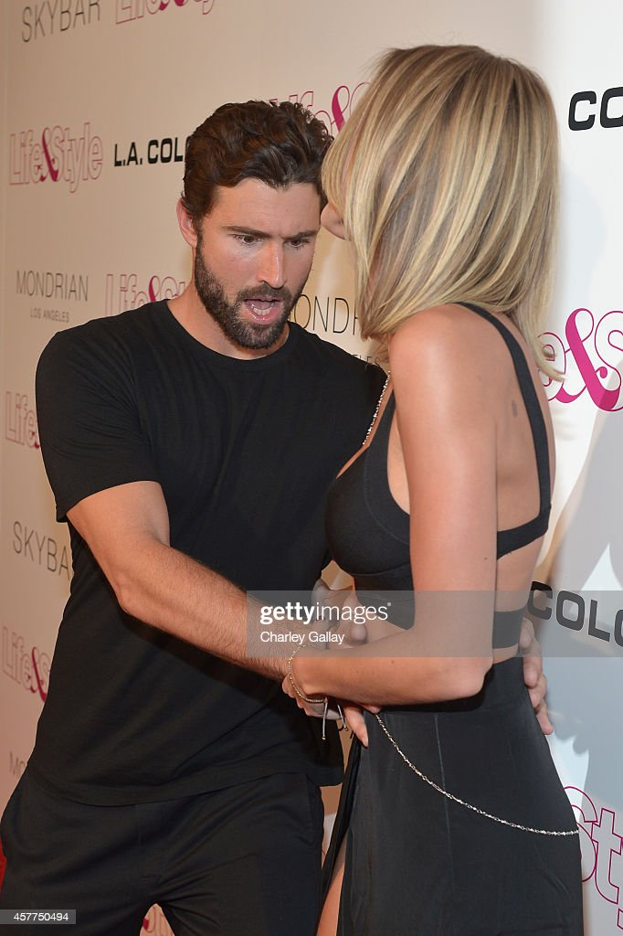 Tv Personalities Brody Jenner (L) and Kaitlynn Carter attend Life & Style Weekly's 10 Year Anniversary party at SkyBar at the Mondrian Los Angeles on October 23, 2014 in West Hollywood, California.
