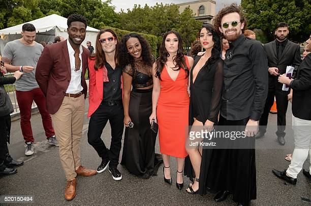 Tv personalities Dean BartPlange Dione Mariani CeeJai' Jenkins Sabrina Kennedy Kailah Casillas and Chris Hall attend the 2016 MTV Movie Awards at...