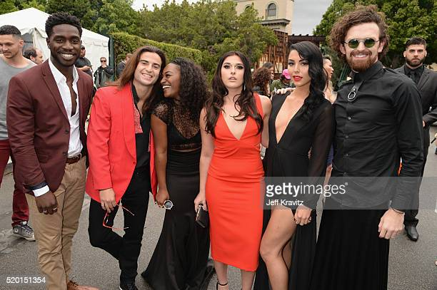 Tv personalities Dean BartPlange Dione Mariani CeeJai' Jenkins Sabrina Kennedy Kailah Casillas and Chris Hall attends the 2016 MTV Movie Awards at...