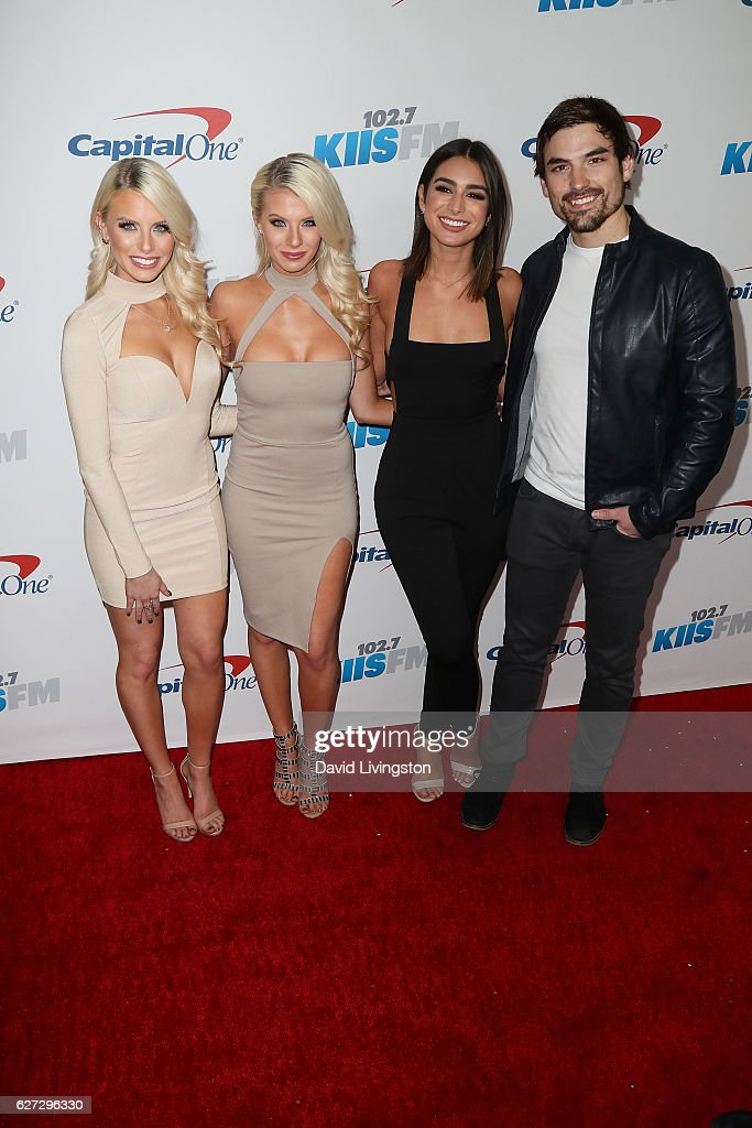 Tv personalities Emily Ferguson, Haley Ferguson, Ashley Iaconetti and Jared Haibon arrive at 102.7 KIIS FM's Jingle Ball 2016 at the Staples Center on December 2, 2016 in Los Angeles, California.