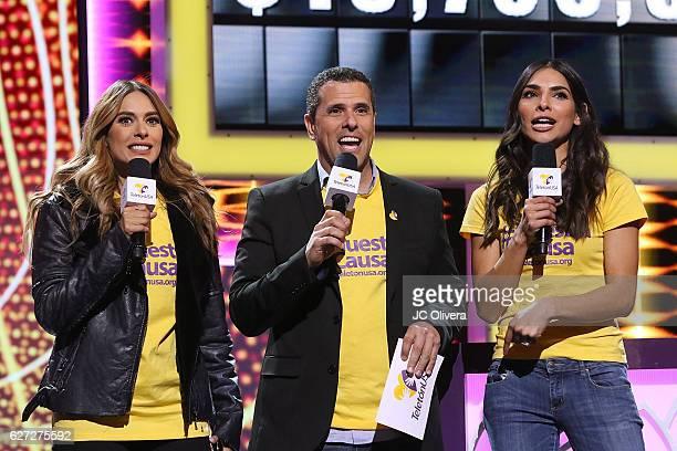 Tv personalities Galilea Montijo Marco Antonio Regil and Alejandra Espinoza speak onstage during TeletonUSA 2016 at Orpheum Theatre on December 2...