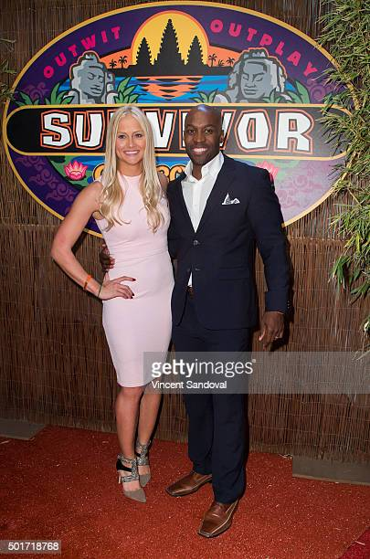 Tv personalities Kelley Wentworth and Jeremy Collins attend CBS's Survivor Cambodia Second Chance photo op at CBS Television City on December 16 2015...