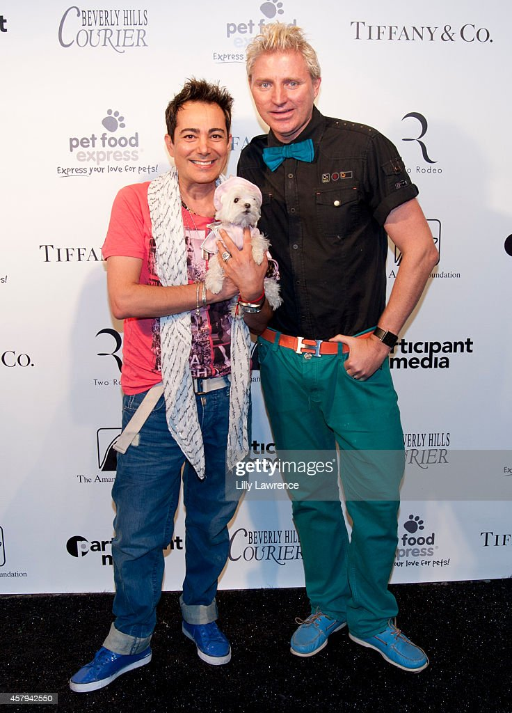 Tv personalities Patrik Simpson and Pol Atteu and their dog Snow White attend the Amanda Foundation's 2014 Bow Wow Beverly Hills Halloween Rodeo Drive 'Night Of The Living Dog!' Event at Via Rodeo at Two Rodeo Drive on October 26, 2014 in Beverly Hills, California.