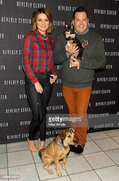 Tv personality Ali Fedotowsky with her dog Owen and Tv personality Ross Mathews with his dog Audrey attend the Beverly Center's Holiday Pet Portraits...