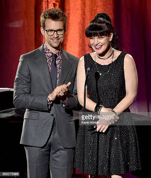Tv personality Brad Goreski and actress Pauley Perrette speak onstage during TrevorLIVE LA 2015 at Hollywood Palladium on December 6 2015 in Los...