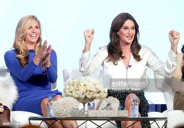 Tv personality Candis Cayne and executive producer/tv personality Caitlyn Jenner speak onstage during the 'I Am Cait' panel discussion at the...