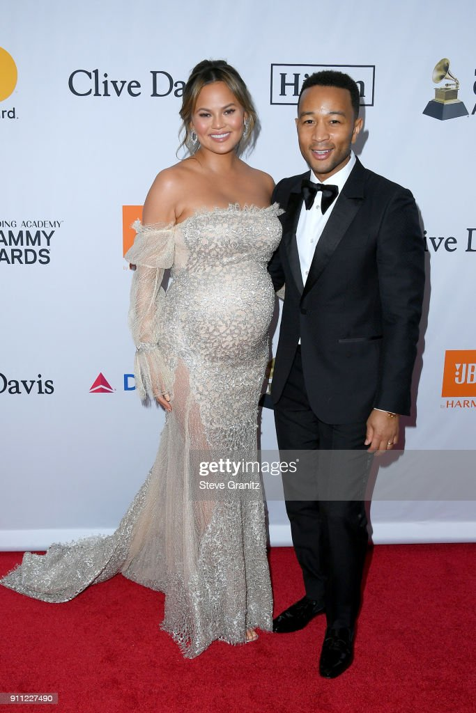 Tv personality Chrissy Teigen (L) and recording artist John Legend attend the Clive Davis and Recording Academy Pre-GRAMMY Gala and GRAMMY Salute to Industry Icons Honoring Jay-Z on January 27, 2018 in New York City.