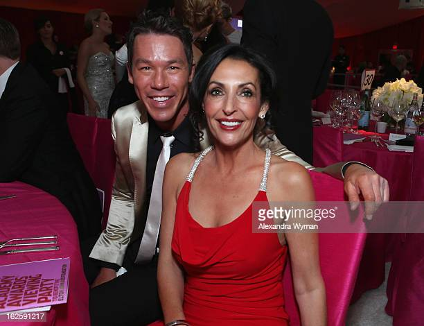 Tv personality David Bromstad and Ghada Dergham attend Grey Goose at 21st Annual Elton John AIDS Foundation Academy Awards Viewing Party at West...