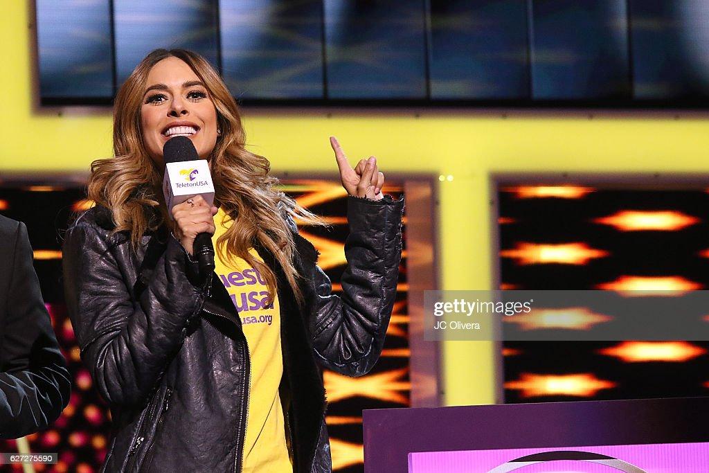Tv personality Galilea Montijo speaks onstage during TeletonUSA 2016 at Orpheum Theatre on December 2, 2016 in Los Angeles, California.