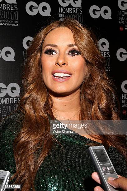 Tv personality Galilea Montijo speaks with the media during the 2011 GQ Mexico Men of the Year at the Salon Arcos Bosques on November 17 2011 in...