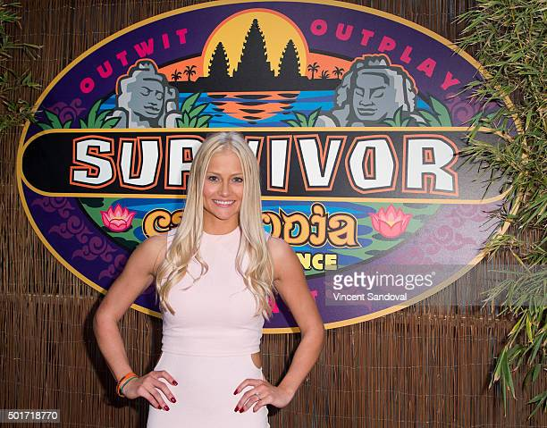 Tv personality Kelley Wentworth attends CBS's Survivor Cambodia Second Chance photo op at CBS Television City on December 16 2015 in Los Angeles...