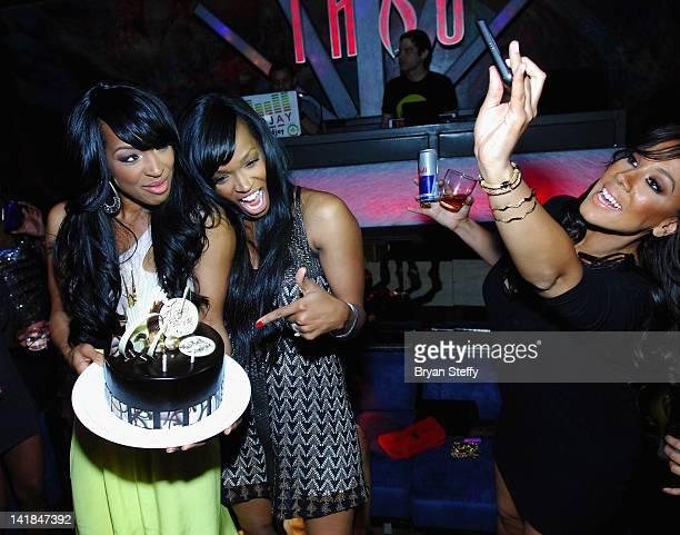 Tv personality Malika Haqq and twin sister Khadijah Haqq celebrate their 29th birthday at the Tabu Ultra Lounge at the MGM Grand Hotel/Casino on...