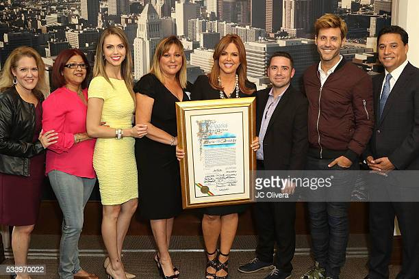 Tv personality Maria Celeste Arraras and guests during The City of Los Angeles Honors Maria Celeste Arraras with a Proclamation presented by...