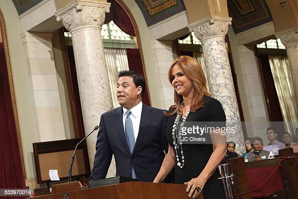 Tv personality Maria Celeste Arraras is presented with the Los Angeles City Proclamation by Councilmember Jose Huizar at Los Angeles City Hall on May...