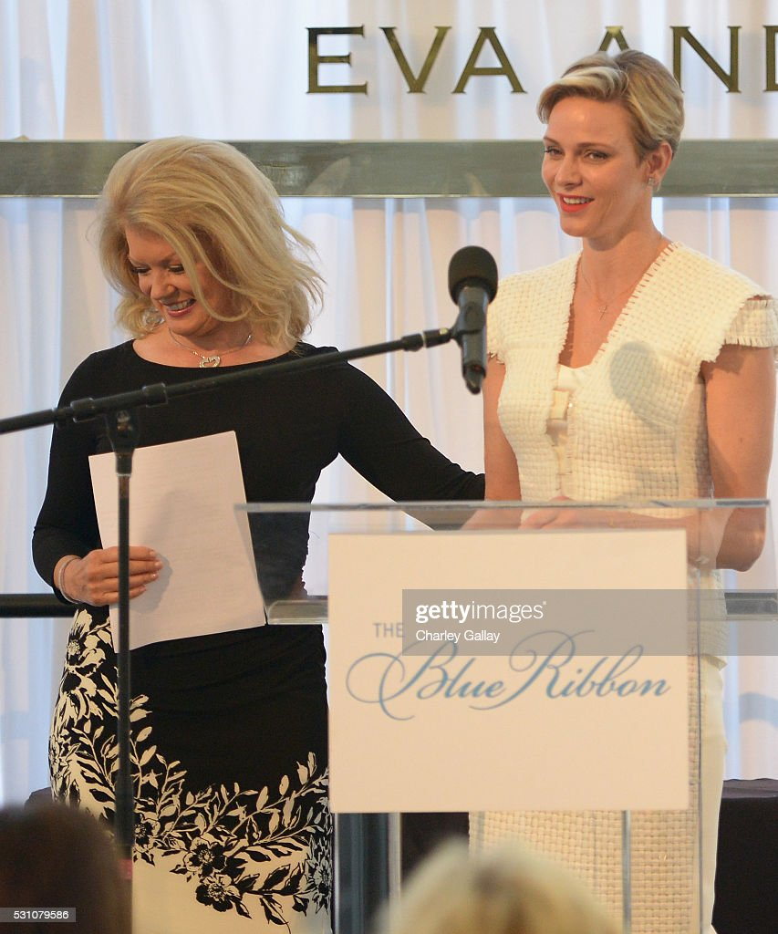 Tv personality Mary Hart (L) and Her Serene Highness Princess Charlene of Monaco speak onstage during the Blue Ribbon of the Los Angeles Music Center honoring Princess Charlene of Monaco at Grand Hall at the Dorothy Chandler Pavililon on May 12, 2016 in Los Angeles, California.