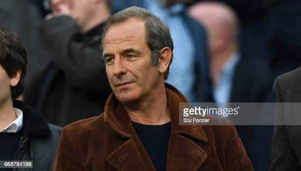 Tv Personality Robson Green looks on before the Sky Bet Championship match between Newcastle United and Leeds United at St James' Park on April 14...