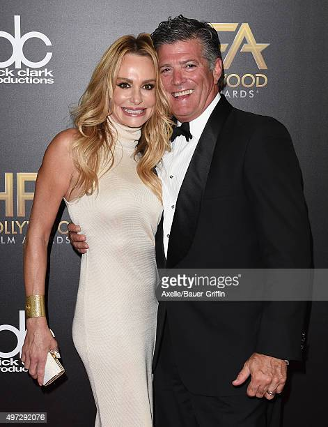 Tv personality Taylor Armstrong and John Bluher arrive at the 19th Annual Hollywood Film Awards at The Beverly Hilton Hotel on November 1 2015 in...