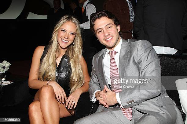 Tv personality Vanessa Huppenkothen and Juan Fernandez attend the BlackBerry Bold 9900 launch at Roma Norte on October 18 2011 in Mexico City Mexico