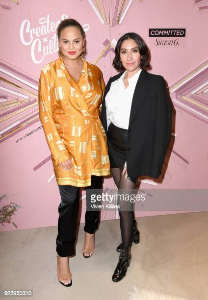 Tv personality/model/author Chrissy Teigen and Founder of Ouai Haircare Jen Atkin at the Create Cultivate Los Angeles conference in the Simon G...