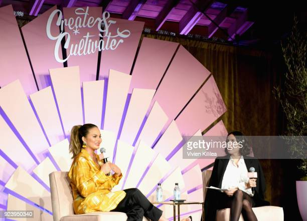Tv personality/model/author Chrissy Teigen and Founder of Ouai Haircare Jen Atkin speak onstage at the Create Cultivate Los Angeles conference in the...