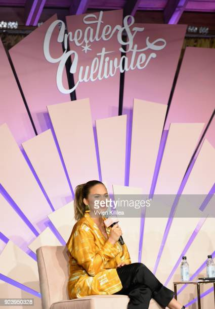 Tv personality/model/author Chrissy Teigen speaks onstage at the Create Cultivate Los Angeles conference in the Simon G Jewelry Green Room on...