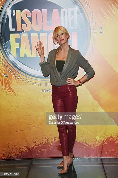 Tv presenter Alessia Marcuzzi attends 'L'Isola Dei Famosi' photocall on January 26, 2017 in Milan, Italy.