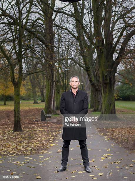 Tv presenter and former professional footballer Gary Lineker is photographed for the Sunday Times magazine on December 3 2013 in London England