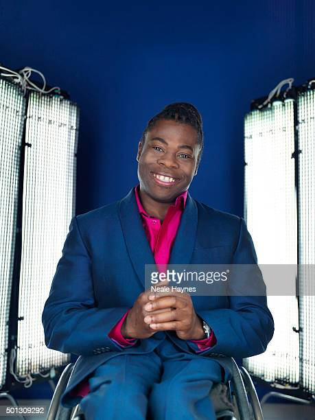 Tv presenter and wheelchair basketball player Ade Adepitan is photographed for Channel 4 on January 16 2014 in London England
