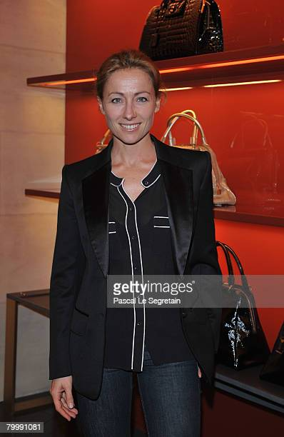 Tv Presenter AnneSophie Lapix at the opening of a new Yves Saint Laurent store on February 25 2008 in Paris France