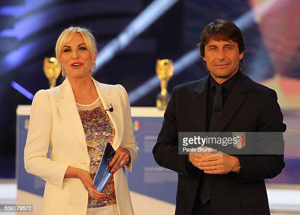 Tv presenter Antonella Clerici and Italy head coach Antonio Conte attend the 'Sogno Azzurro' TV programme at Auditorium del Foro Italico on May 31...