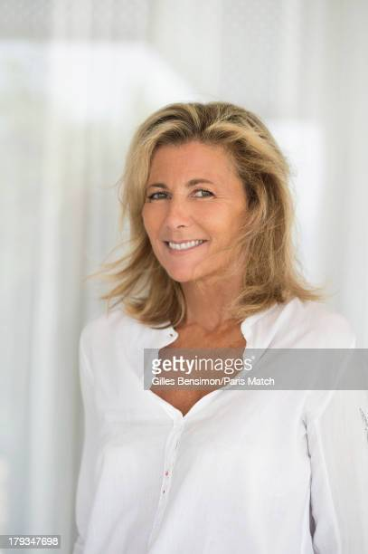 Tv presenter Claire Chazal is photographed on the Greek island of Paxos for Paris Match on August 16 2013 in Greece