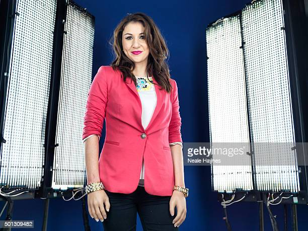 Tv presenter Daraine Mulvihill is photographed for Channel 4 on January 16 2014 in London England