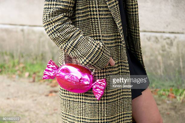 Tv Presenter Elke Sockeel wears a Kate spade bag Pinko jacket and H and M dress on day 8 during Paris Fashion Week Spring/Summer 2016/17 on October 6...