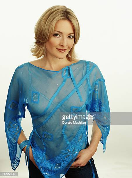 Tv presenter Gabby Logan poses for a portrait shoot for the S Express magazine in London on February 5 2002