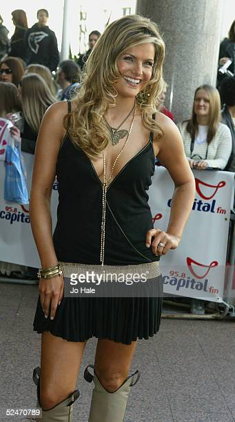 Tv Presenter Katy Hill arrives at the Capital FM Awards 2005 at the Royal Lancaster Hotel on March 23 2005 in London The annual awards in aid of Help...