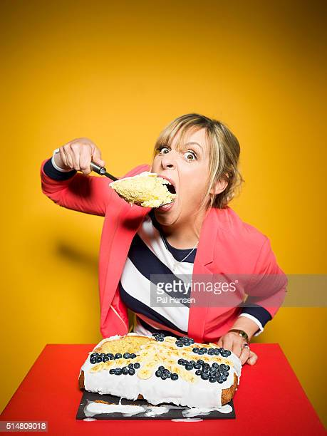 Tv presenter Mel Giedroyc is photographed for the Observer on May 28 2015 in London England