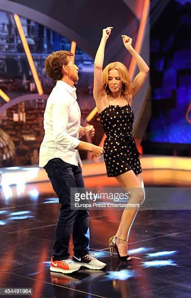 Tv presenter Pablo Motos and Kylie Minogue attend 'El Hormiguero' TV show on September 1, 2014 in Madrid, Spain.