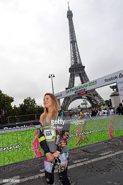 Tv presenter Stephanie Loire attends 'La Parisienne 2015' Women Auction race Against Breast Cancer Hosted by Reebok At Esplanade Bassin Du Trocadero...