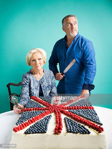 Tv presenters Mary Berry and Paul Hollywood are photographed for the Observer on May 28 2015 in London England