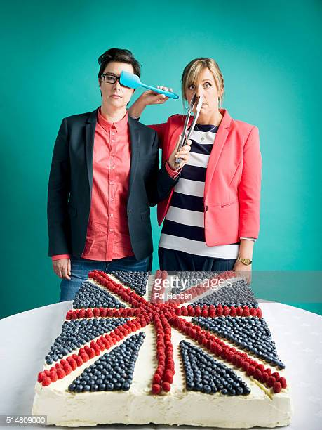 Tv presenters Sue Perkins and Mel Giedroyc are photographed for the Observer on May 28 2015 in London England