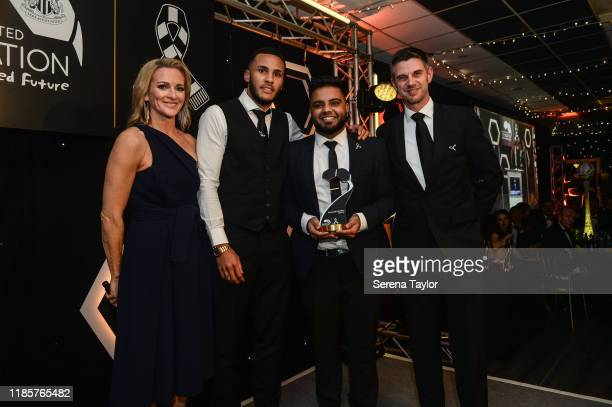 Tv Pundit Gabby Logan and Jamaal Lascelles pose for a photo with the Young Leader Award winner Imram Ali during the Newcastle United Foundation's...
