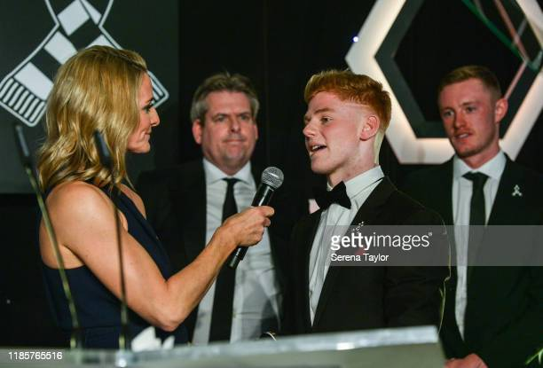 Tv Pundit Gabby Logan speaks to Adult Learner Award winner James Geddes during the Newcastle United Foundation's United as One annual dinner at St....