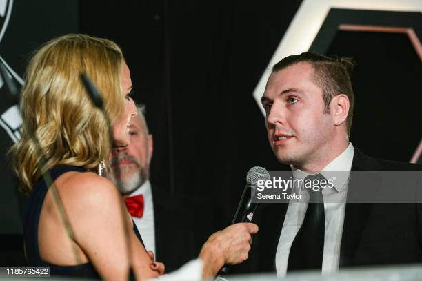 Tv Pundit Gabby Logan speaks to United as One High Commended winner Les Peacock during the Newcastle United Foundation's United as One annual dinner...