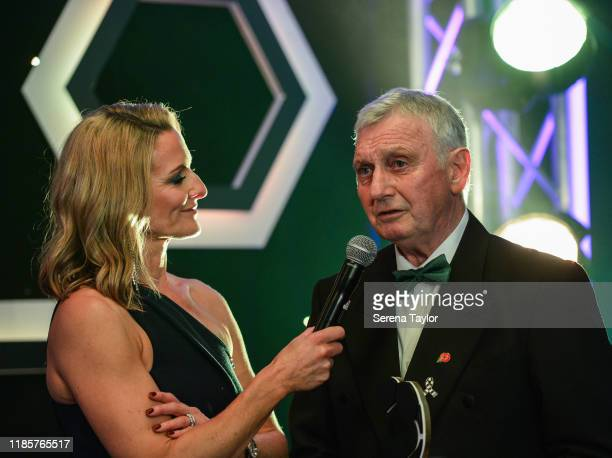 Tv Pundit Gabby Logan speaks with David Craig as he is inducted into the hall of fame during the Newcastle United Foundation's United as One annual...