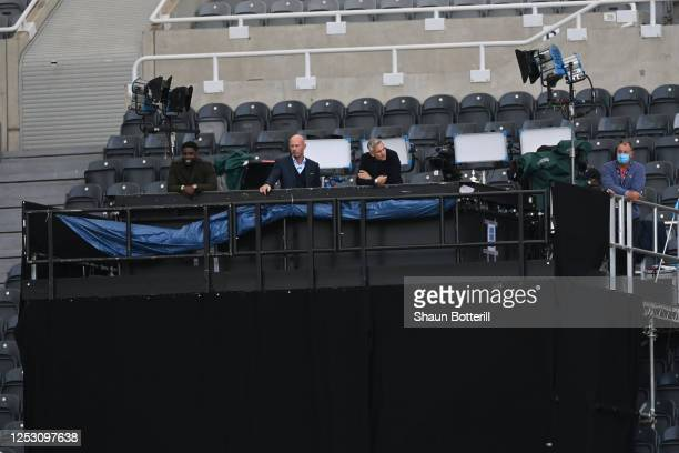 Tv pundits Alan Shearer and Gary Lineker are seen in the tv studio in the stands during the FA Cup Quarter Final match between Newcastle United and...