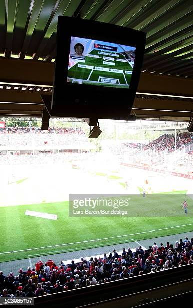 Tv screen is seen prior to the Bundesliga Play Off match between FC Energie Cottbus and 1.FC Nuernberg at the Stadion der Freundschaft on May 28,...