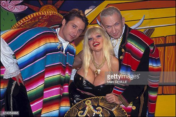 Tv show Eurotrash In Paris France On November 02 1995 Antoine de Caunes Lolo Ferrari and Jeanpaul Gaultier